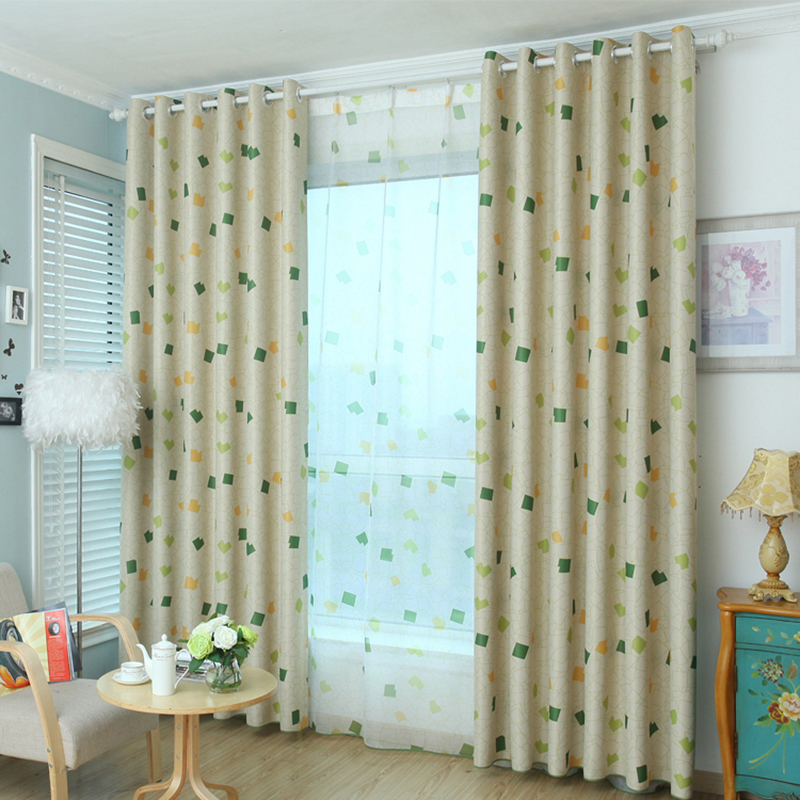 Superb Pastoral Small Square Print Blockout Curtains Thicken Fabric Window Curtains  Eyelet(China (Mainland)