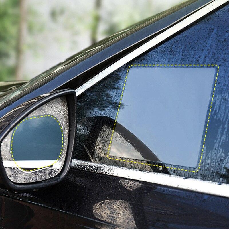 2PCS/Set Anti Fog Car Mirror Window Clear Film Anti-Light Car Rearview Mirror Protective Film Waterproof Rainproof Car Sticker