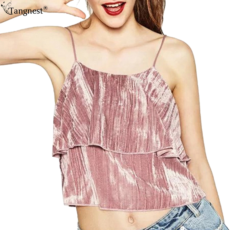 d656915abc627 TANGNEST Summer Sexy Velvet Ruffles Backless Camis 2017 NEW Fashion Black  Pink Short Tank Vintage Loose Crop Tops T shirt WBS244-in Camis from Women's  ...