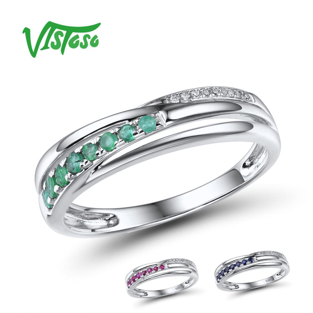 VISTOSO Genuine 14K White Gold Rings For Lady Shiny Diamond Fancy Emerald/Ruby/Sapphire Engagement Anniversary Chic Fine Jewelry
