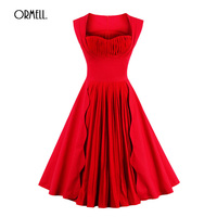 ORMELL Party Vintage Sexy Slim Women Dresses Summer Autumn New Lady Red High Waist Dress Wedding