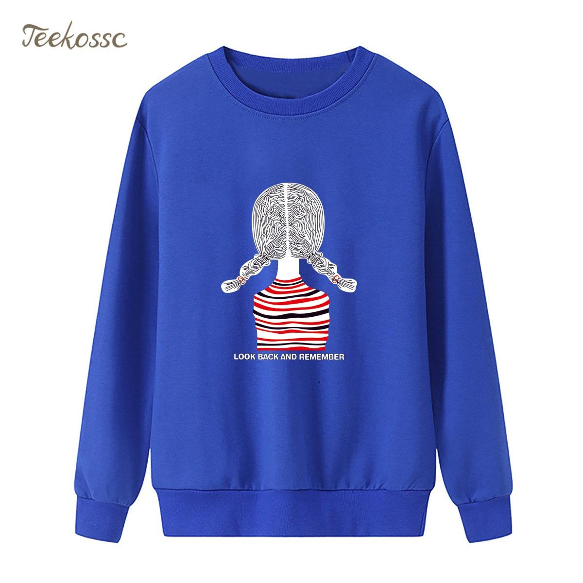 Girl Look Back And Rember Sweatshirt Cartoon Hoodie 2018 Winter Autumn Women Lasdies Pullover Fleece Warm Loose Brand Streetwear