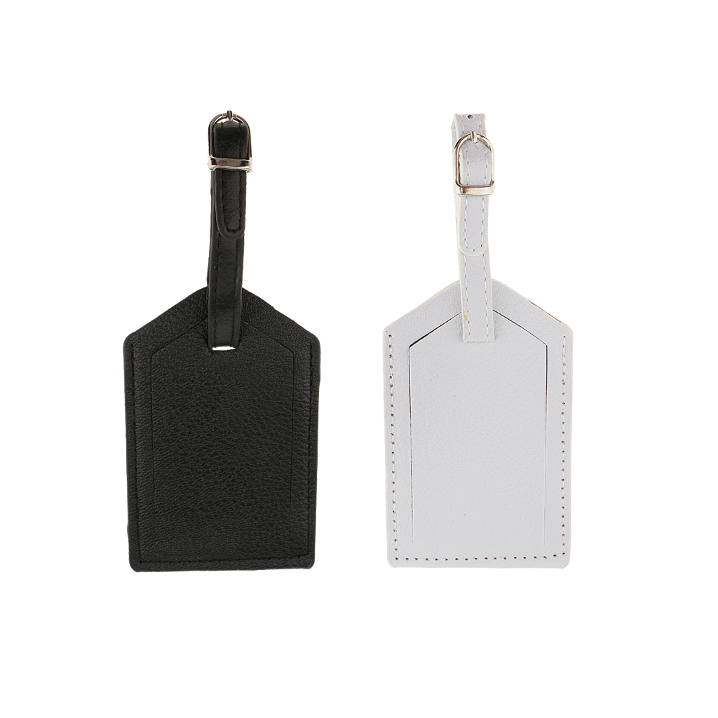 fityle 2 Pieces PU Leather Luggage Tag Travel Suitcase ID Label Tag White and Black