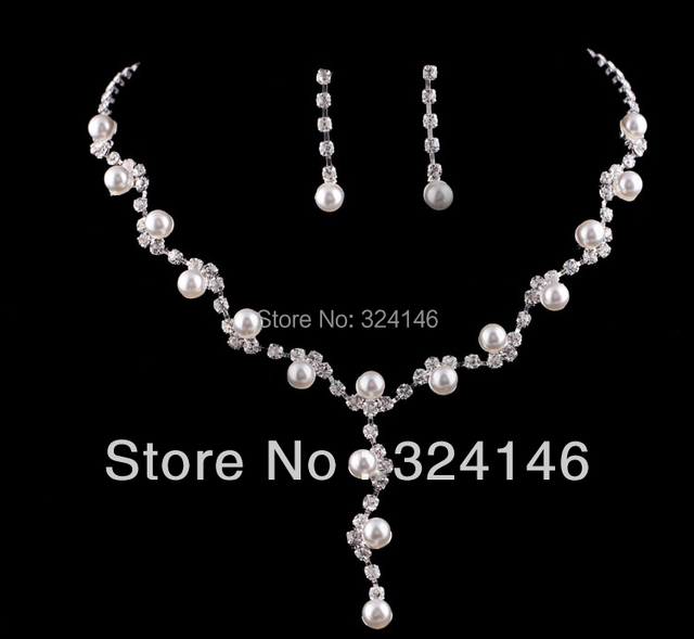 Factory Wholesale Elegant Pearl bridal jewelry sets fashion Chamring Silver Crystal Rhinestone Wedding jewelry sets for Women