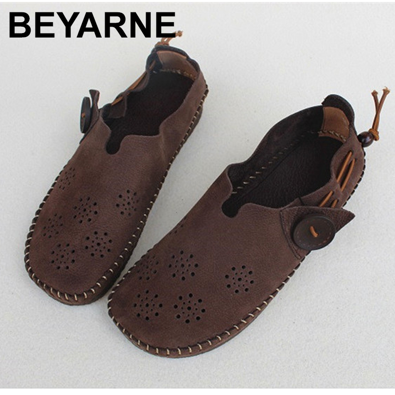 BEYARNE 2019Women s Shoes Slip on Ballet Flats Shallow Hollow out Ladies Flat Shoes 100 Genuine