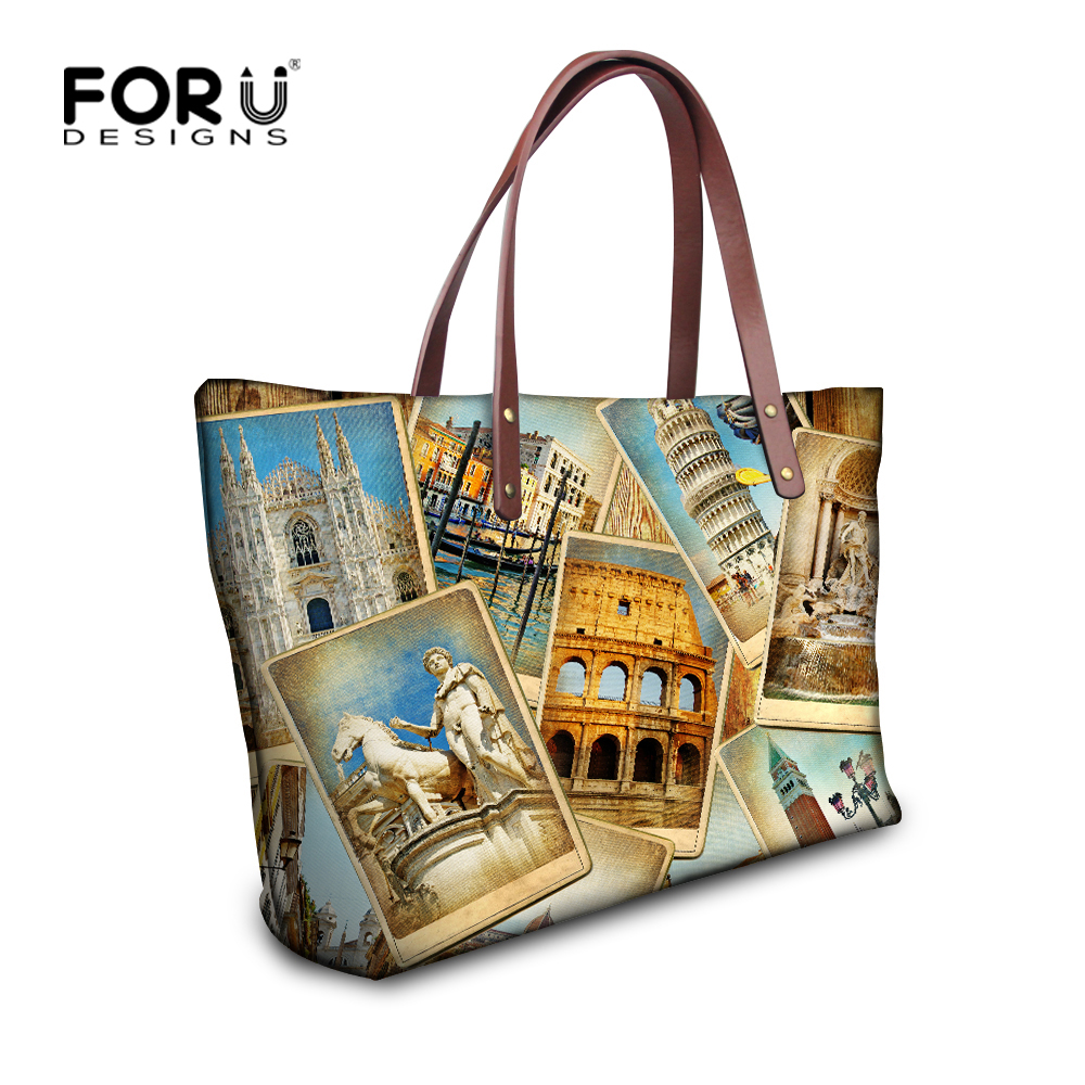 Forudesigns Women Large Handbag Eiffel Tower Top Handle Tote Bags Las S High Quality Shoulder Bag Travel Hand Beach In From