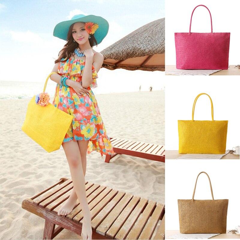 Handmade Women Shoulder Bag Summer Beach Bag Woven Rattan Knitted Straw Bag Big Totes Travel Women Handbag Shopping Casual Bohe