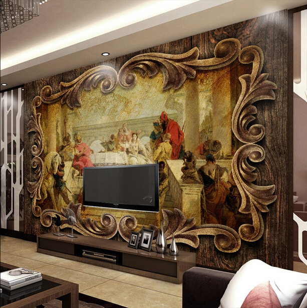 Free Shipping Hotel decoration non-woven wallpaper European style living room bedroom wallpaper mural wall painting  free shipping large mural wallpaper villa living room ceiling european oil painting wallpaper