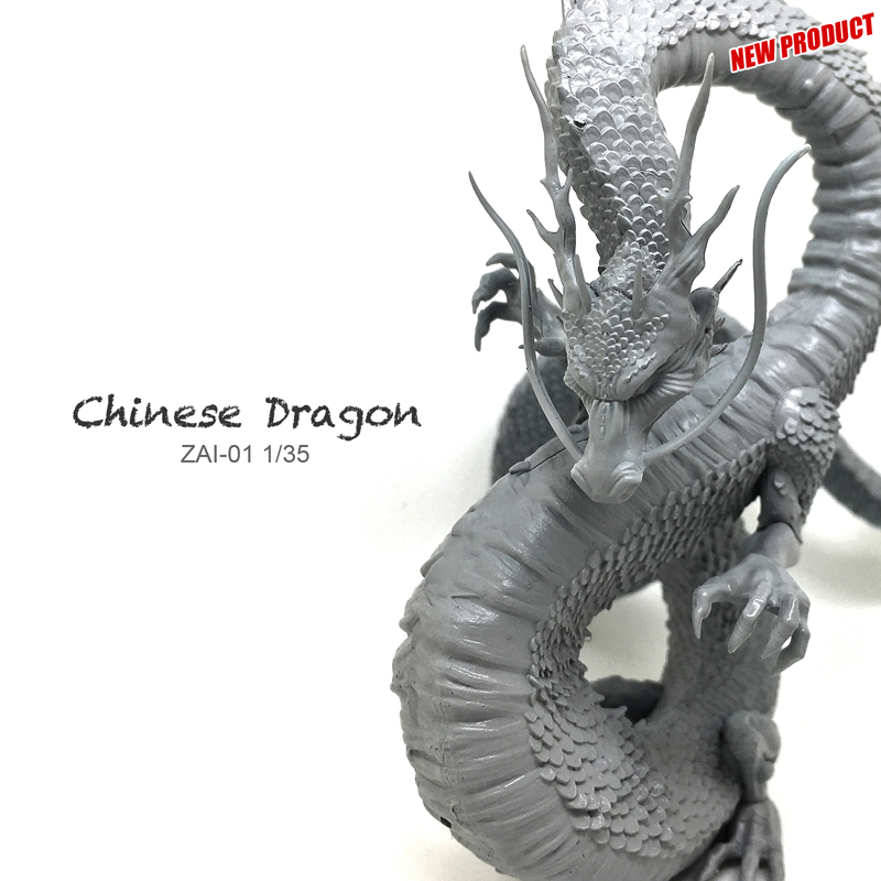 где купить Miniature 1/35 Resin Model Loong Chinese Dragon 90mm Dragon Ball Figure Kit ZAI-01 дешево