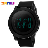 2016 SKMEI Watch LED Silicone Strap Black Fashion Men Digital Sports Watches For Men Outdoor Wristwatches
