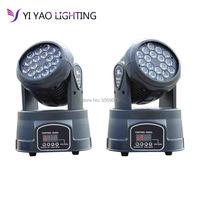 2 pz/lotto rgb moving head light Cina 18x3 W led DMX Wash dj luce della fase della discoteca del partito-in Luci con effetti speciali da Luci e illuminazione su