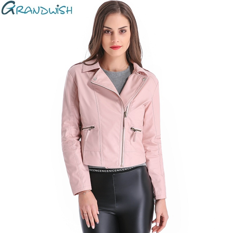 Grandwish Women Leather Jacket Plus Size 4XL Short PU Leather Jacket Woman Female Moto Turn-down Collar 2018 New Spring,CB018