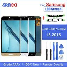 LCD สำหรับ Samsung Galaxy J3 2016 J320 J320F J320H จอแสดงผล LCD Touch Screen Digitizer Assembly การควบคุมความสว่างเครื่องมือ