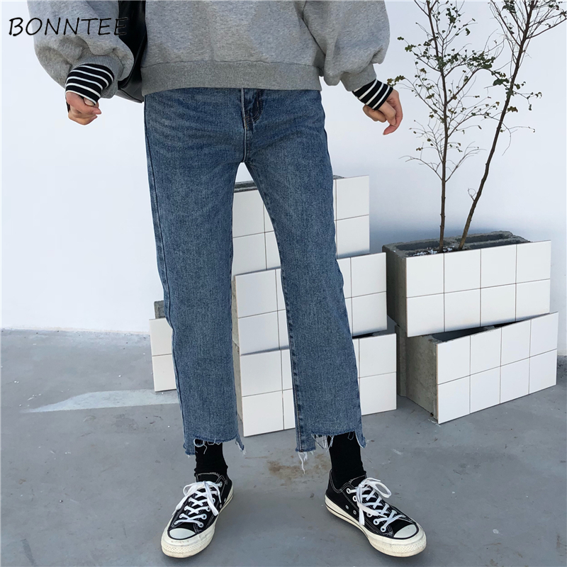 Jeans   Women Korean Style Straight Retro Elegant Ankle-Length Womens Student Denim Pockets Casual All-match Trouser Lady Clothing