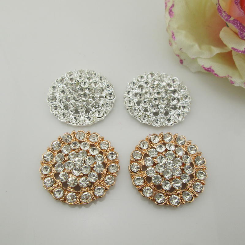 (BT200 <font><b>30mm</b></font>)5pcs Round Flatback Clear Rhinestone <font><b>Buttons</b></font> Sewing Craft image
