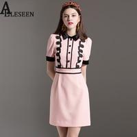 Slim Elegant Dresses 2017 Summer Fashion Patchwork Turn-Down Collar High-Quality 3D Flowers Single-breasted Preppy Pink Dress