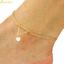 Diomedes Newest Creative Fashion Punk Metal Imitation Pearl Triangle Anklet Women Trendy Summer Foot Jewelry