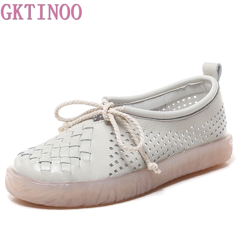 GKTINOO Women Flat Shoes Lace Up Moccasins Mother Soft Genuine Leather Ladies Shoes Handmade Flats Hollow