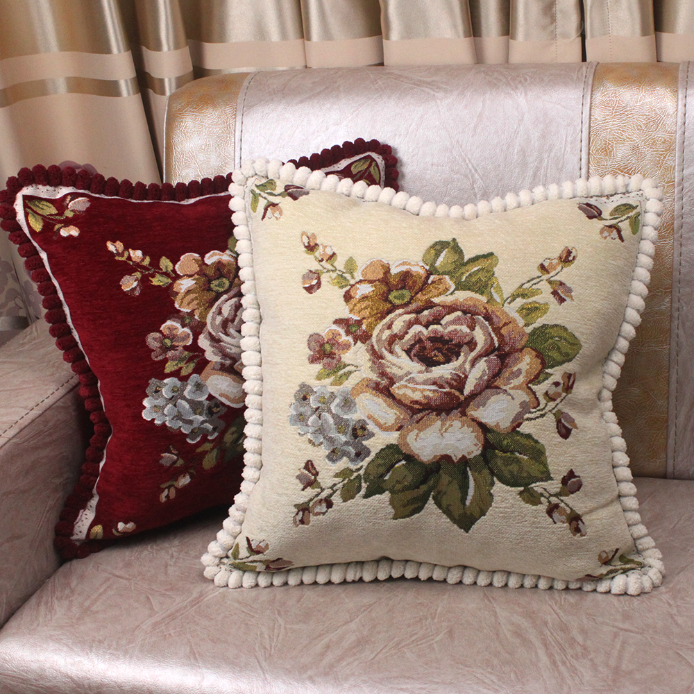 Luxury Chenille Fabric Jacquard Floral Classic Throw Pillow Cases 19x19 Vintage Cushion Cover for Sofa Home Decoration Gift