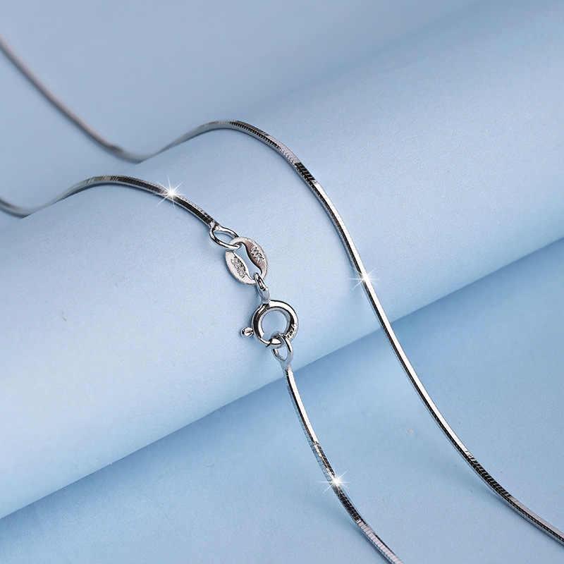 100% srebro łańcuszek kobieta moda urok 925 srebrny naszyjnik oryginalny podstawowy łańcuch luksusowa biżuteria