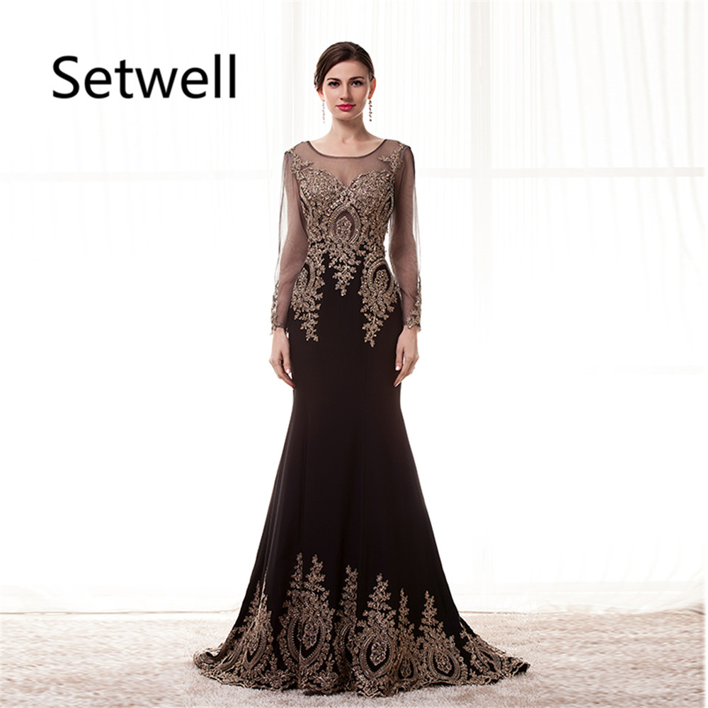 Dress Evening Gowns: Setwell Vintage Long Sleeve Evening Dresses Sexy Illusion