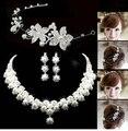 2016 Nueva Moda Elegante joyería nupcial de la Perla conjuntos Collar cristalino de la manera fijó para La Novia de la boda sistemas de la joyería del pelo accesorio