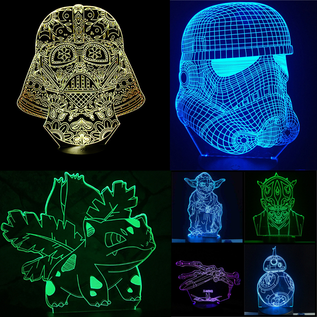 Resistance X-Wing Fighter 3D USB LED Lamp Star Wars BB-8 Yoda Jedi Master Cartoon Figure Touch Remote Illusion Night Light