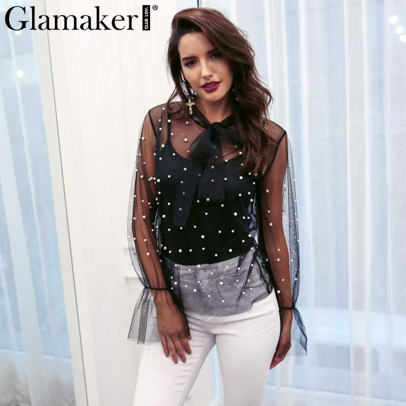 8752dd0fdec Glamaker Sexy transparent mesh blouses shirts Elegant pearl lace up blouse  women tops summer casual two