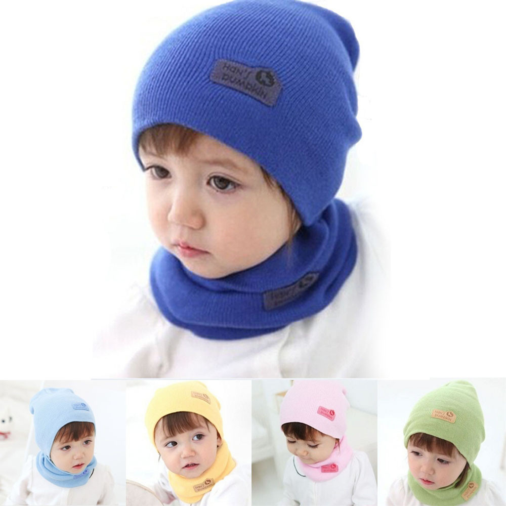 2pcs Unisex Winter Baby Hat Scarf Set Cotton Crochet Knitted Beanie Caps for Infant Boys Girls Children Kids Neck Warmer Scarf