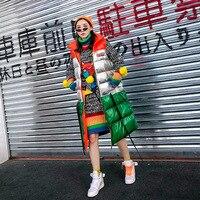2018 Осенняя Новая цветная Длинная женская хлопковая жилетка с контрастными лацканами и шнуровкой, свободная повседневная куртка х/б, улична