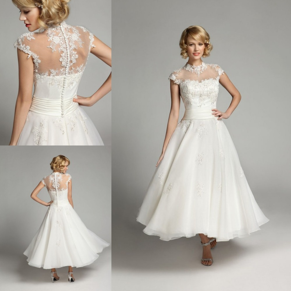 Romantic 2016 sexy a line short vintage wedding dresses ankle romantic 2016 sexy a line short vintage wedding dresses ankle length vestido de noiva curto casamento elegant bridal gowns in wedding dresses from weddings ombrellifo Image collections