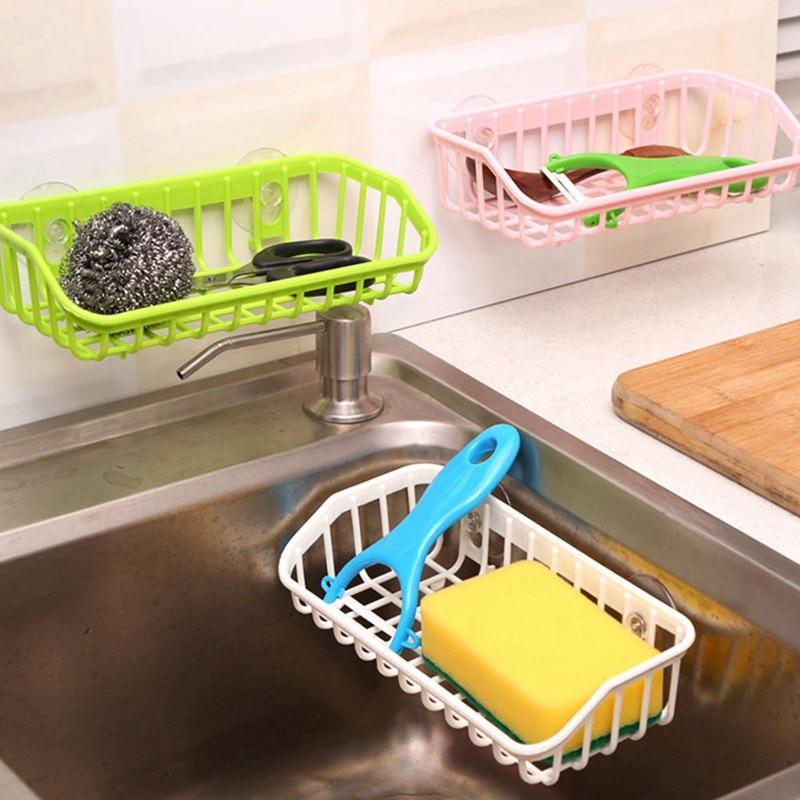 2019 Kitchen Sponge Drain Holder Suction Cup Sink Shelf Soap Sucker Storage Rack Basket Shelf Organizer