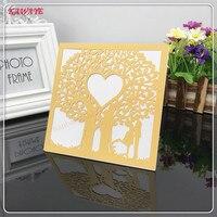 24 قطعة/الحزمة رائعة أنيقة شجرة تصميم حفل زفاف ورقة الليزر قطع بطاقة دعوة زفاف بطاقة معايدة 6ZXH18