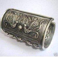 פרח מגולף כסף מיאו טיבטי תכשיטים בעבודת יד מעולה סין אסיה דרקונים צמיד צמיד פניקס משלוח חופשי יותר