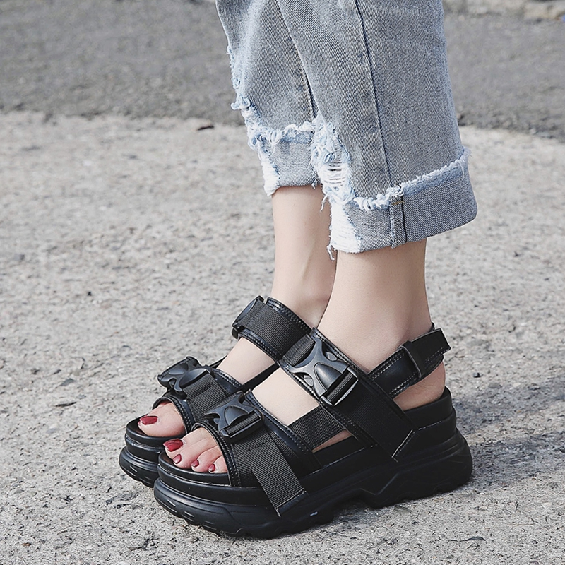 COOTELILI Summer Shoes Women Gladiator Sandals Flats Platforms Woman Causal Wedge Shoes Open Toe Black White