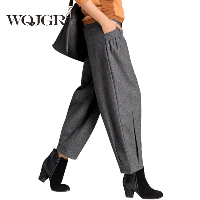 Trousers For Women Nine Points Slacks Female Wide-Legged Pants In Winter Panty Harlan Height Pants Of Radish Loose