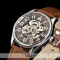 SEWOR Мужские Золотой Тон Скелет Прозрачный Механические Часы НОВЫЕ моды для Мужчин наручные часы