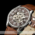 SEWOR Mens Gold Tone Skeleton Transparente Mecânica Assista Men moda NOVO relógio de pulso