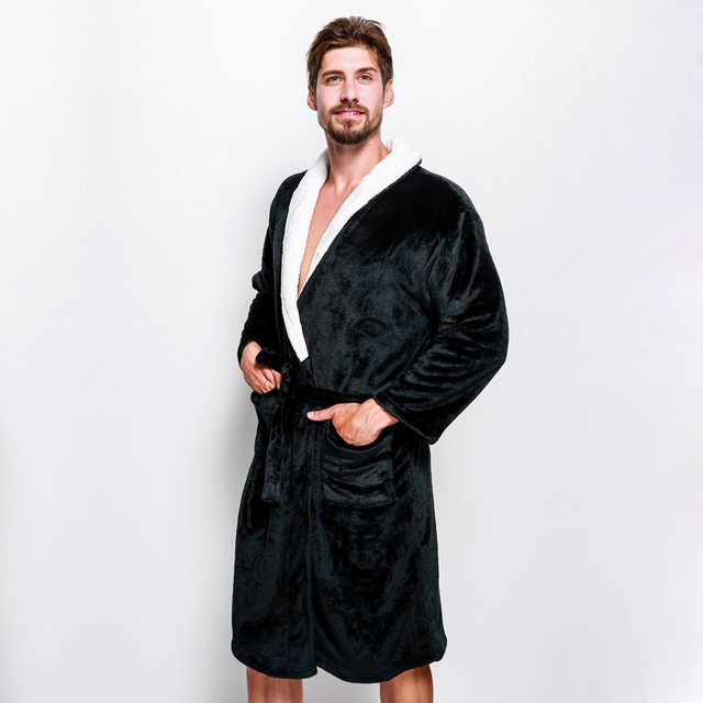 Winter coral velvet Keep warm couples robes exquisite bathrobes for ...
