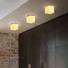 Nordic Simple Personality Led Wooden Ceiling Light Ceiling Corridor Balcony Bedroom Toilet Sugar Cube Lights Ceiling Lamp nordic led ceiling light loft decor corridor porch balcony cafe creative ceiling lamp background wall dining roon ceiling lights