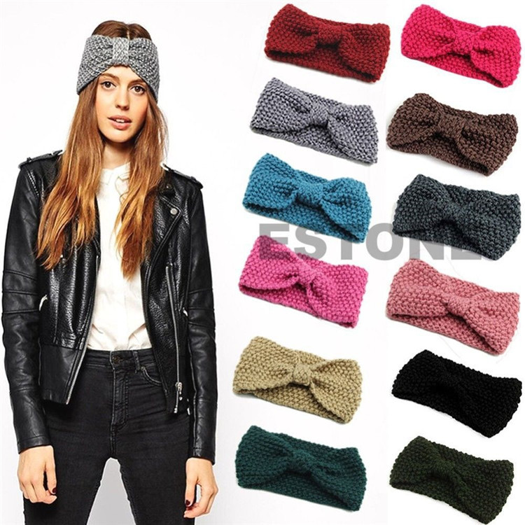 Womens Wool Knitted Headband knotted Hair Band Ski Hat Earmuffs Winter Warm Girls wool felt cowboy hat stetson black 50cm