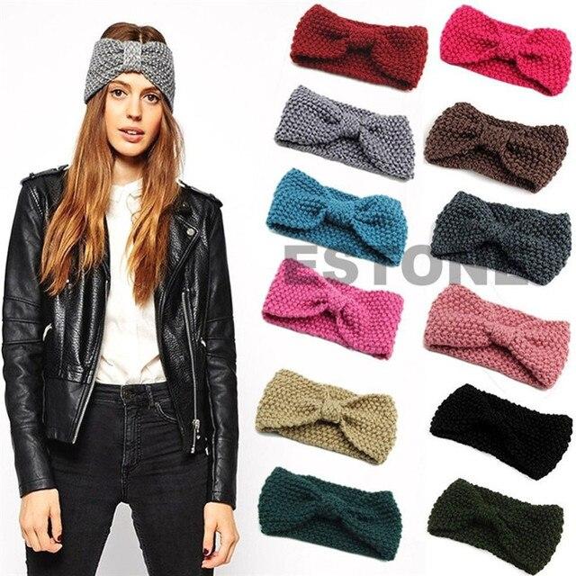 Womens Wool Knitted Headband knotted Hair Band Ski Hat Earmuffs Winter Warm  Girls 0a221c05ed25