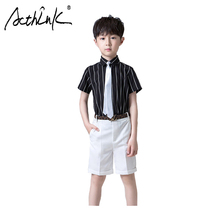 ActhInK New 2Pcs Boys Summer Formal Suit Striped Wedding Baby Boy Overalls Shirts With Tie