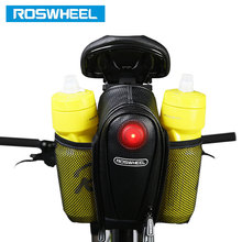ROSWHEEL Bicycle Saddle Bag W 2 Water Bottle Pouch LED Tail Light Seat Post Storage Pannier