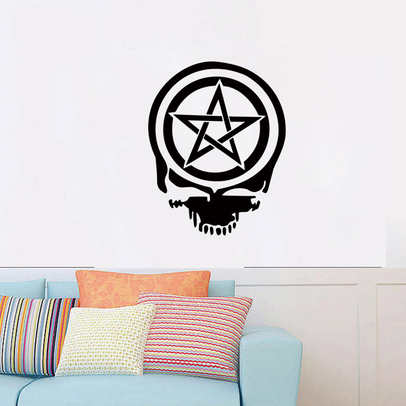 Cool Graphic Pentacle Pentagram Wiccan Pagan Death Skull Wall ...