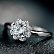 sunflower bigger quality 6mm cubic zirconia stone silver 925 rings for women, wedding jewelry