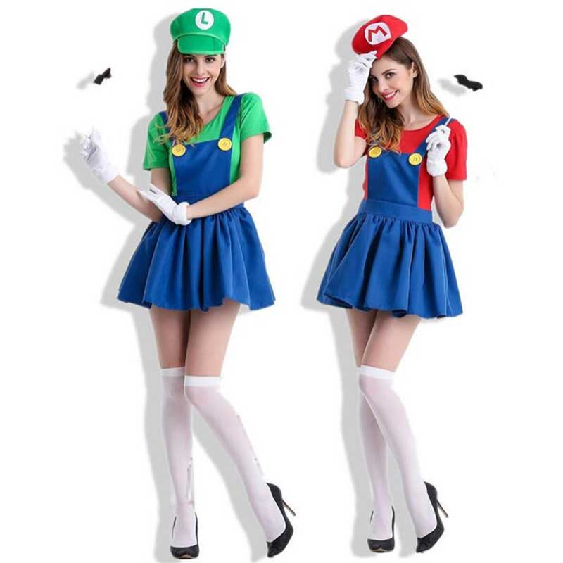 Women's Costume Super Mario Lady's Female Luigi Brothers Cosplay T Shirt Skirt Moustache Hat Suit Adults Anime Cosplay Halloween