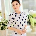 2016 Hitz mulheres de manga comprida chiffon dot blusa camisas femininas mulheres roupas plus size