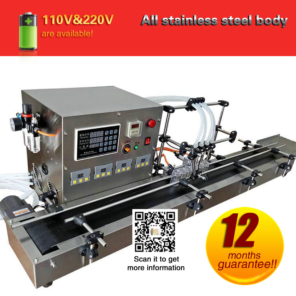 4 Nozzles Filling Machine For Liquid Bottling Machine Automatic Fill Machine With 4 Different Control