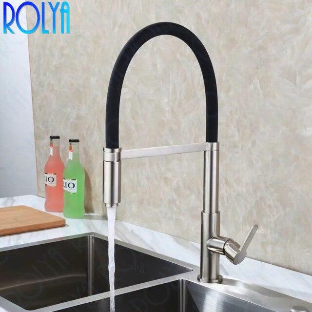 ROLYA Nickel Brushed Kitchen Faucet Pull Down Sink Mixer Taps